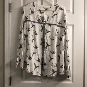 NWT CJ banks white/black bird detail blouse 2x